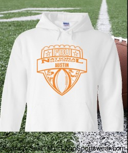 Austin - White Hoodie with Orange Design Zoom