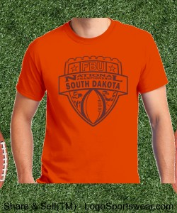 South Dakota - Orange Tee with Maroon Design Zoom