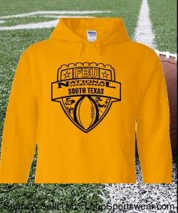 South Texas - Gold Hoodie with Black Design Zoom