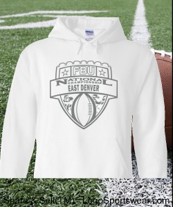 East Denver - White Hoodie with Graphite Design Zoom
