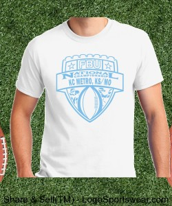 KC Metro, KC/MO - White Tee with Light Blue Design Zoom